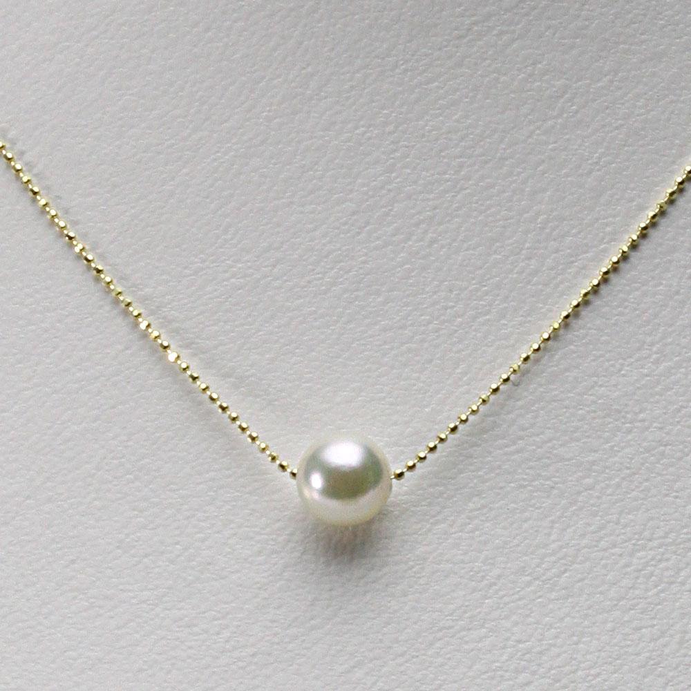 あこや真珠 一粒 パール ネックレス 8.0mm アコヤ 真珠 ペンダント K18YG イエローゴールド レディース HA00080R32NW0B01YS