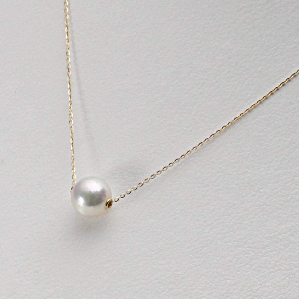 あこや真珠 パール ネックレス 8.0mm アコヤ 真珠 ペンダント K18 イエローゴールド レディース HA00080R33WPGA03YS