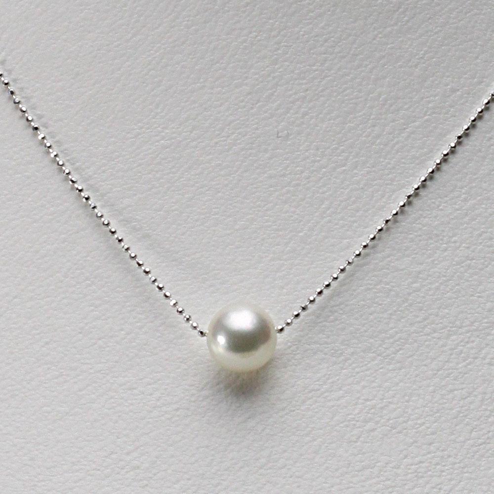 あこや真珠 一粒 パール ネックレス 8.5mm アコヤ 真珠 ペンダント K18WG ホワイトゴールド レディース HA00085R33NW0B01WS