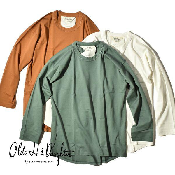 限定価格セール 究極の素材をシンプルにまとう 20%OFFクーポン対象 超人気 専門店 オールドエイチアンドドーター Olde HDaughter スビン コットン クルーネック ロングスリーブ カットソー 白T CREW SLEEVE LONG NECK Tシャツ 日本製 長袖 レディース UG006