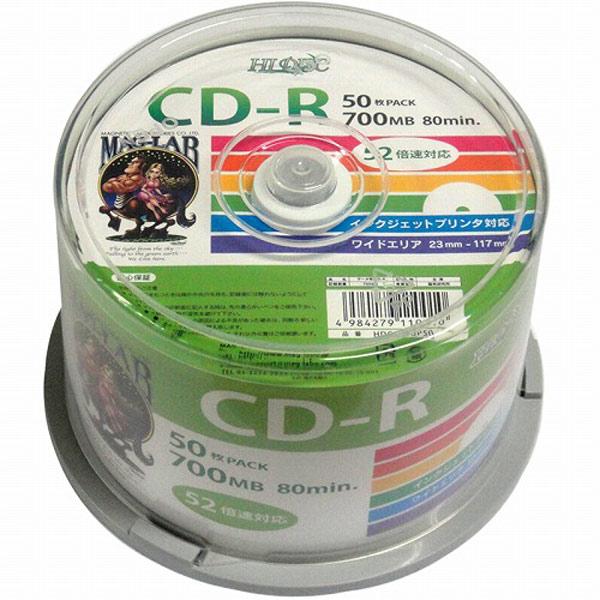 『送料無料(北海道沖縄離島除く)』HIDISC データ用CD-R 700MB 52倍速対応 スピンドルケース入り ワイドプリンタブル 50枚x6個/卸