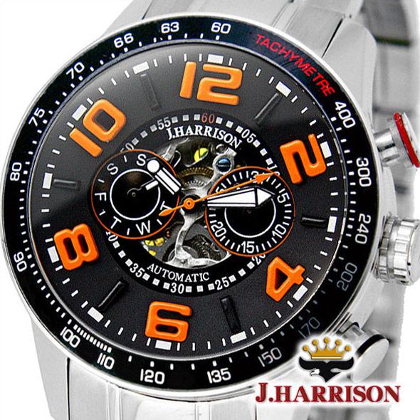 J.HARRISON/ジョンハリソン 3D多機能付 両面 スケルトン 自動巻き 腕時計 JH-020BO/送料無料