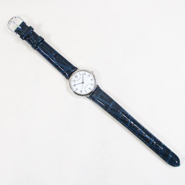 〓MOON〓CITIZEN シーンを選ばずお使いいただけるシンプルな腕時計 シチズン ファルコン 腕時計 日本製ムーブメント 革ベルト ホワイト/ネイビー Q997-324 レディース 婦人/送料無料メール便