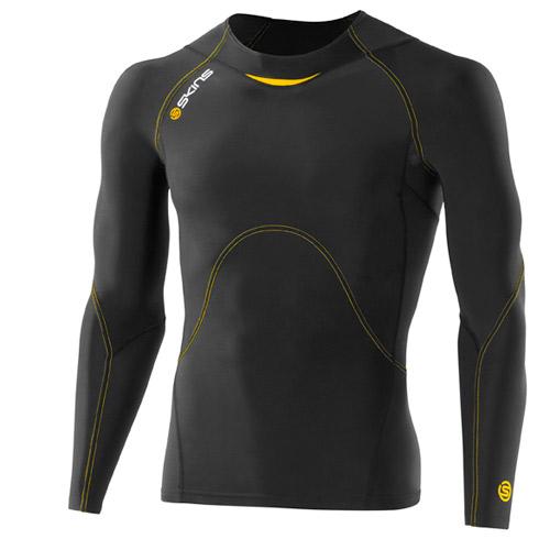スキンズ(SKINS)A400 メンズロングスリーブトップ(A400 Men's Long Sleeve Top)カラー:Black/Yellow