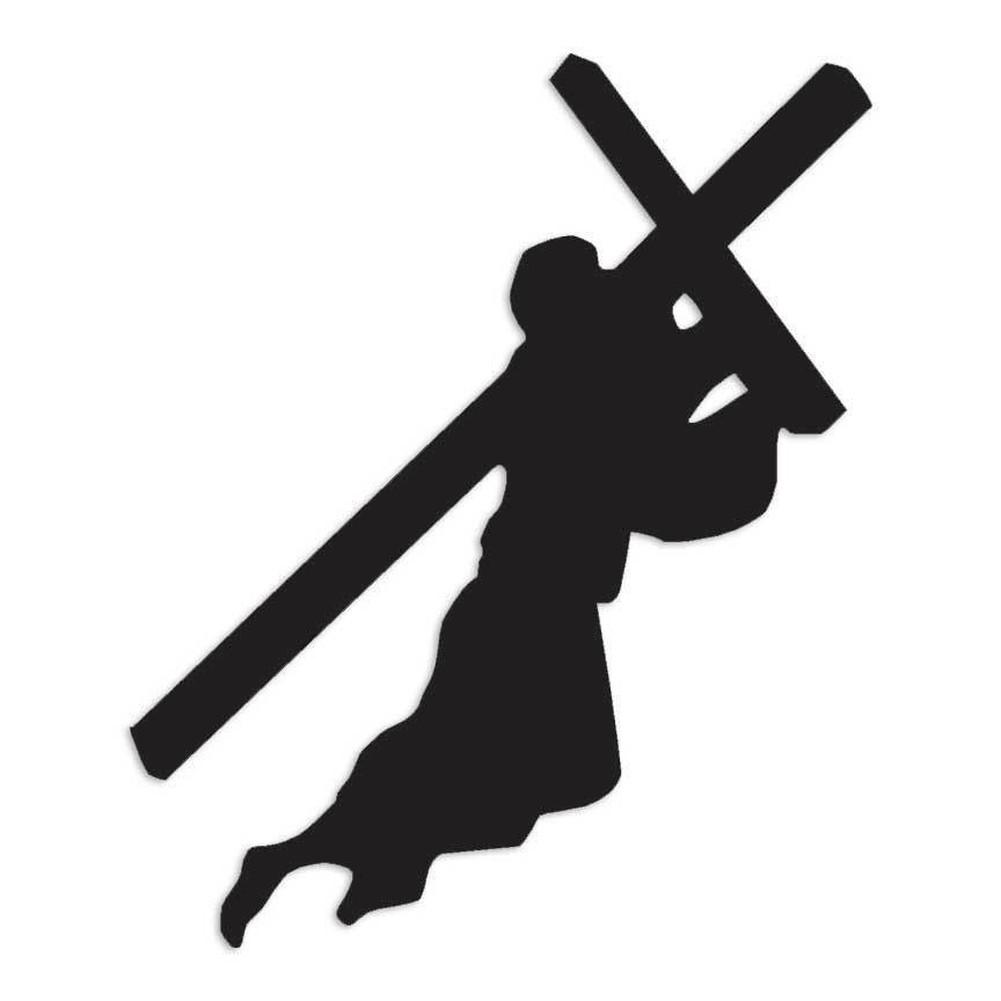 ゆうメール 送料無料 新品 キリスト教 イエス 本物 キリスト ジーザス 9.5cm 色カスタム可能 11.4cm ステッカー × クロス 十字架 出色