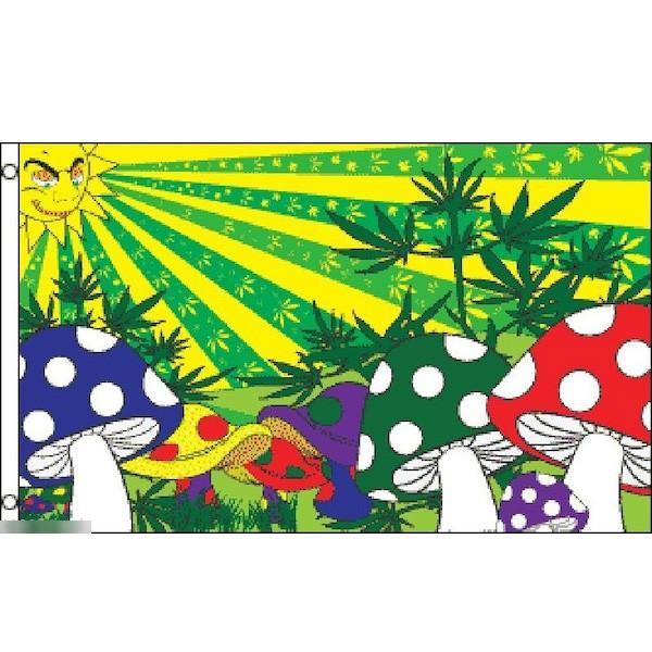 ゆうメール 送料無料 国旗 定番から日本未入荷 マジックマッシュルーム マリファナ 150cm × 90cm 受注生産 新生活 フラッグ 特大