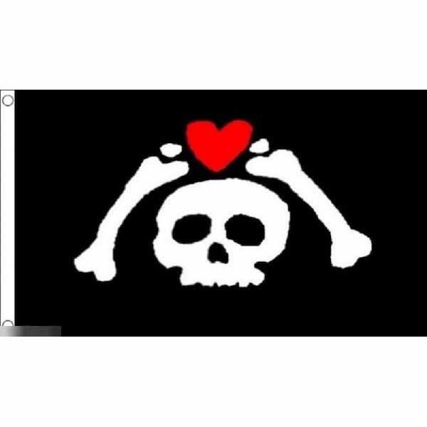 ゆうメール ついに再販開始 送料無料 物品 国旗 海賊旗 パイレーツ スカル 骸骨 ハート 90cm 受注生産 150cm × キュート フラッグ 特大