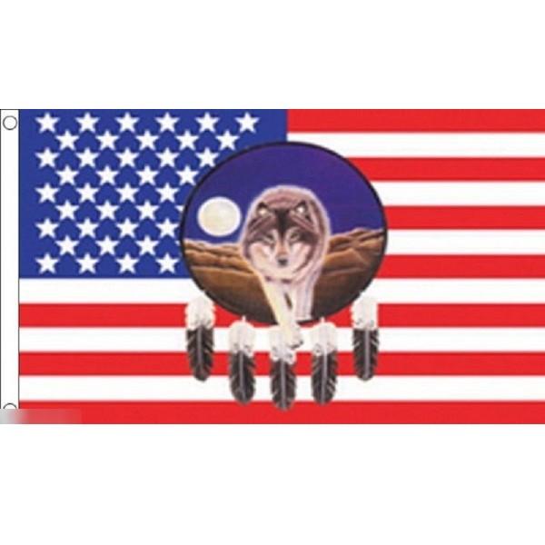 ゆうメール 送料無料 国旗 アメリカ 販売 米国 USA 星条旗 ウルフ 狼 × 150cm フラッグ 特大 90cm キャンペーンもお見逃しなく 受注生産