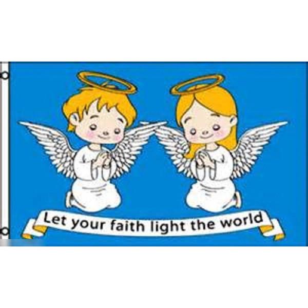 ゆうメール 送料無料 大好評です 国旗 信仰で世界を照らしましょう 宗教 天使 キリスト教 クリスチャン 90cm × フラッグ 時間指定不可 特大 150cm 受注生産