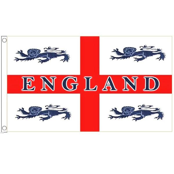 ゆうメール 送料無料 国旗 イングランド 4頭 ライオン イギリス 英国 受注生産 特大 × バースデー 記念日 ギフト 贈物 お勧め 通販 新生活 90cm サッカー フラッグ 150cm