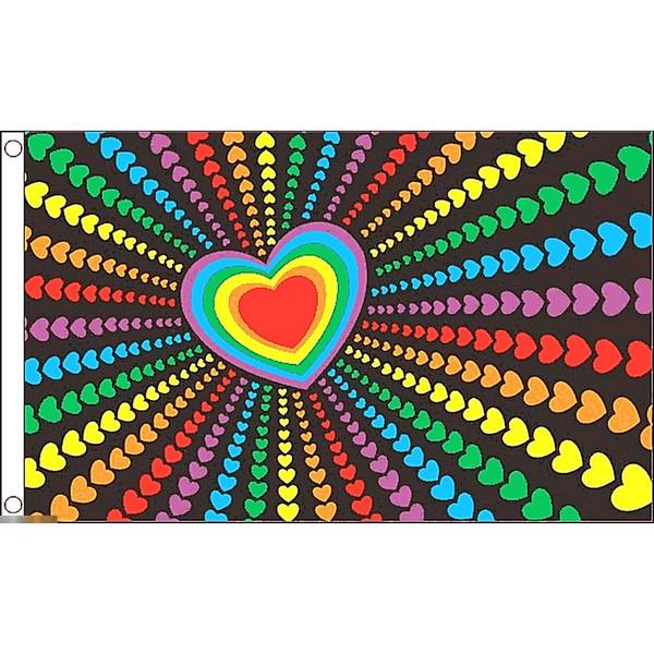 ゆうメール 送料無料 国旗 虹 レインボーフラッグ LGBT ゲイ レズビアン 爆売り フラッグ 150cm 受注生産 90cm 特大 ハート × キュート ブランド買うならブランドオフ