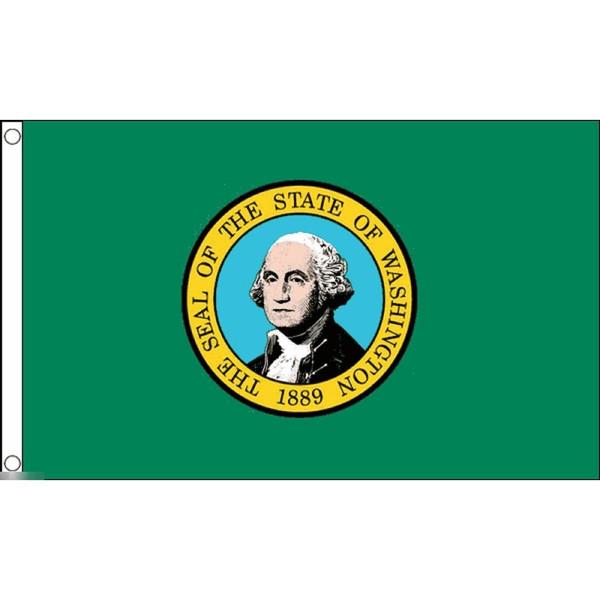 信託 ゆうメール 送料無料 国旗 ワシントン州 賜物 アメリカ 州旗 150cm フラッグ 特大 × 90cm 受注生産