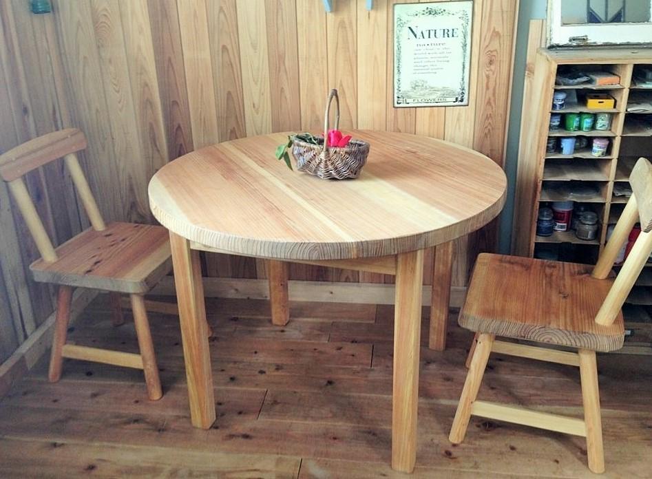 ダイニングテーブル3点セット(森の丸テーブル) 無垢円形(直径90cm)・ 接ぎ天然木