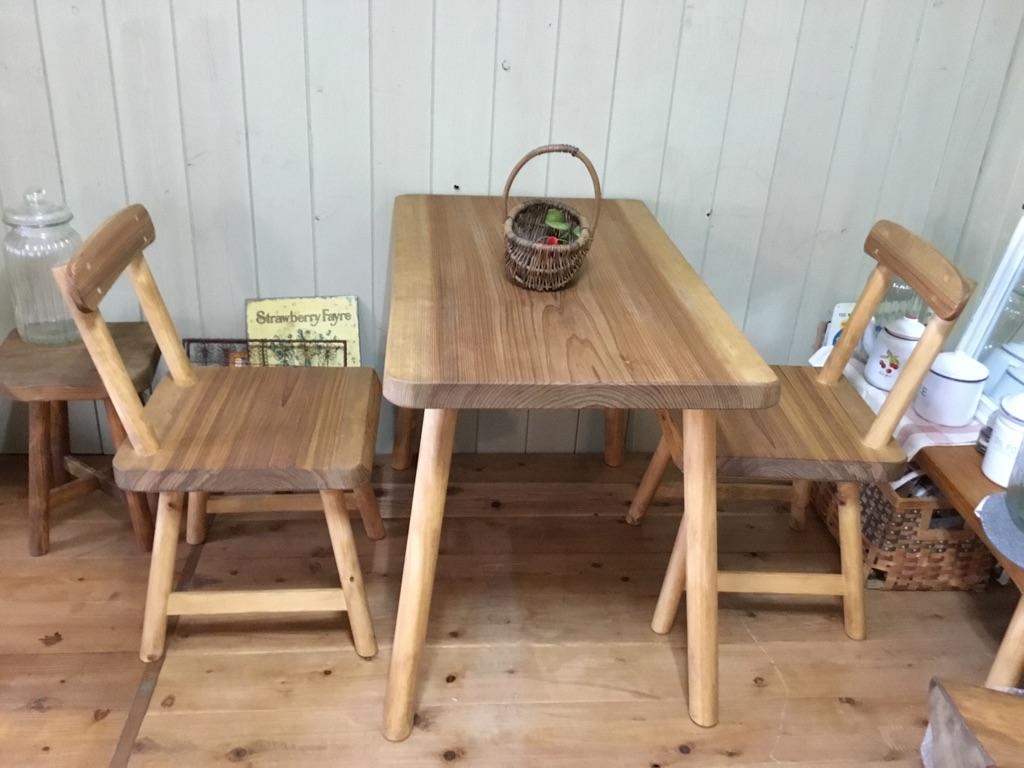 ★無垢 一枚板 カフェテーブル(長さセミオーダー)3点セット/天然木ダイニングセット