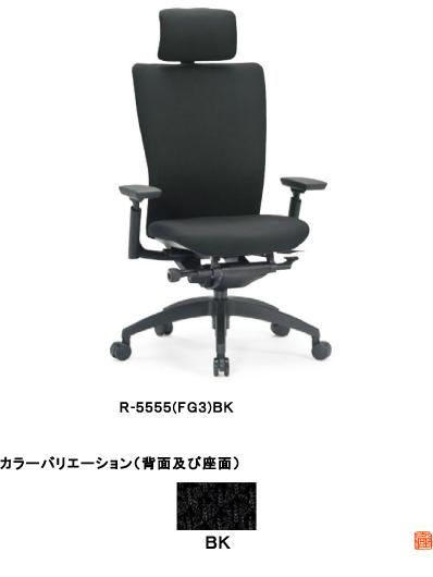 アイコ オフィスチェア ハイバックタイプ 樹脂脚タイプ R-5555(FG3)BK