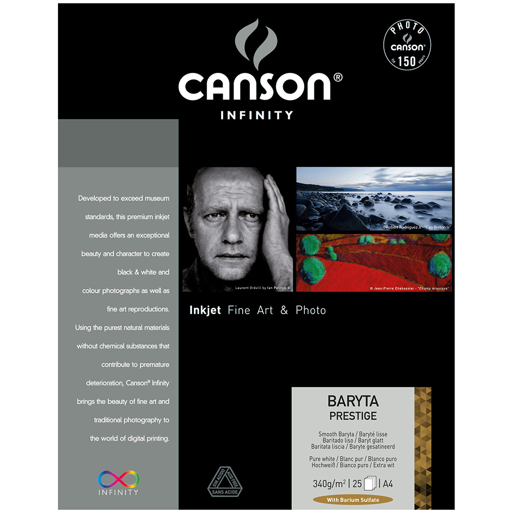 キャンソン インフィニティ フォト系インクジェット用紙 バライタ・プレステージ A4 25枚入