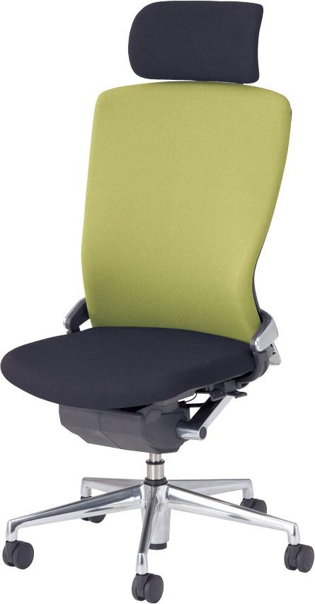 内田洋行 オフィスチェア Pulse(パルス) ヘッドレスト付クロスバックタイプ(背樹脂カバータイプ) 肘なし PA2-500C グラスグリーン [ 5-346-5516 ]