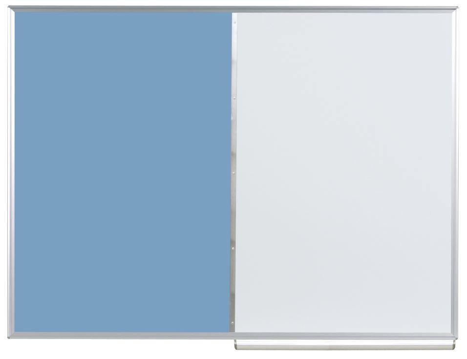 馬印 コンビボード(壁掛) ワンウェイ掲示板/ホーローホワイトボード ブルー KHK34-741