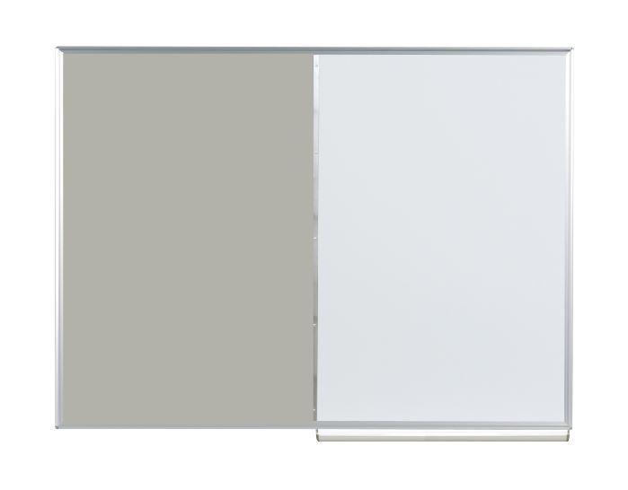 馬印 コンビボード(壁掛) ワンウェイ掲示板/ホーローホワイトボード グレー KHK34-711