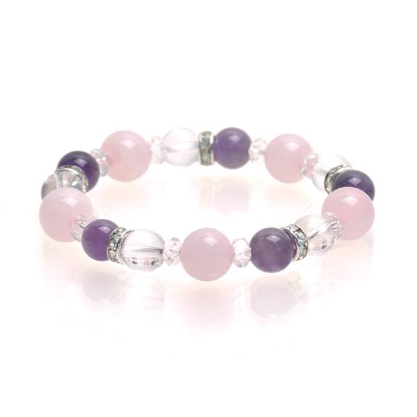 ★ Pink quartzite & Amethyst bracelet ★ women's inner diameter 15 cm natural  stone pink quartzite 10 mm Amethyst (Amethyst)-Crystal 8 mm color