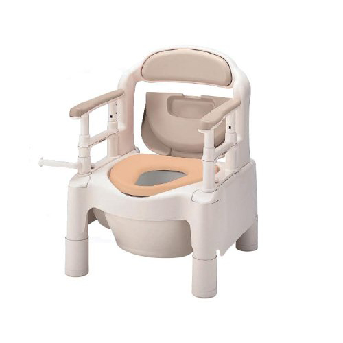 【送料無料】ポータブルトイレ ちびくまくん FXーCPSD-C 快適脱臭、キャスター付きベージュ