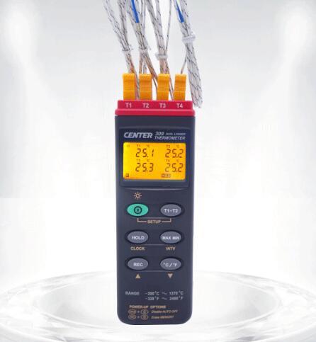 全国送料無料です・メーカー品質保証対応!! 全国送料無料CENTER社[CENTER-309]デジタル温度計 (データロガー機能付、4チャンネル) CENTER-309