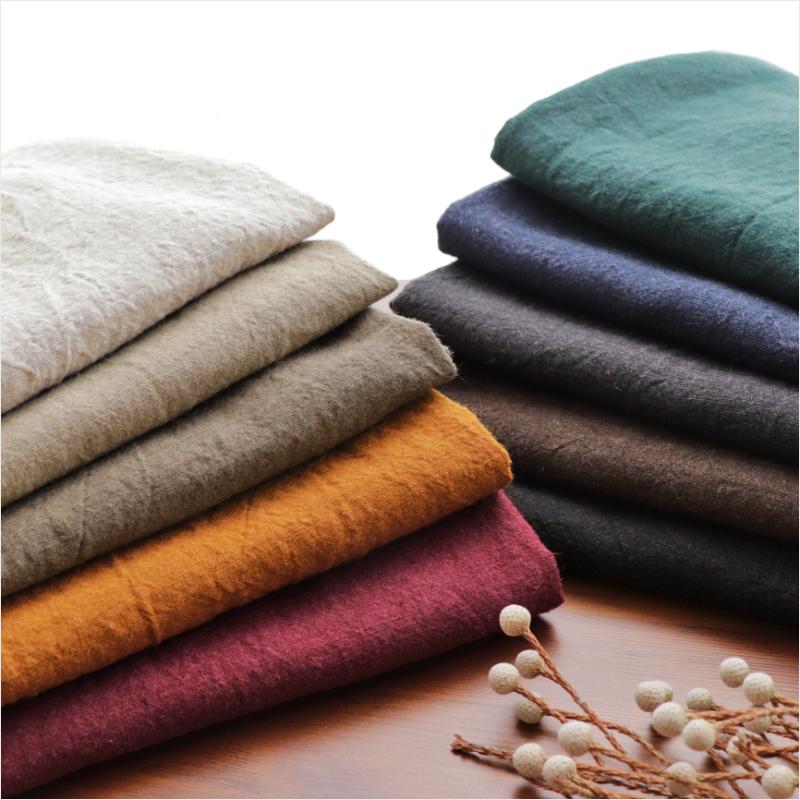 【 生地 布 】【 リネン 】生地の森 洗いこまれた平織り リネンウール1/60番手25m反物販売