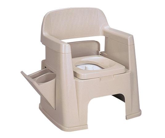 【メーカ直送代引不可】ポータブルトイレ (600×500×665(340)mm) 背もたれ型【介護用トイレ】【樹脂製トイレ】