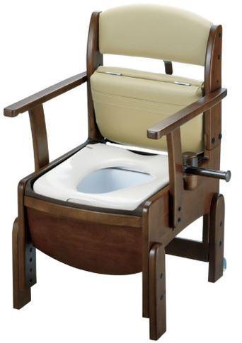 リッチェル 木製トイレ きらくコンパクト  暖房便座 固定式肘掛け(品番18510)【介護【介護用品】【介護 トイレ】