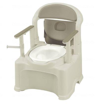 リッチェル ポータブルトイレきらくPS2型 1台 グレー 普通便座タイプ【樹脂製トイレ】【介護トイレ】