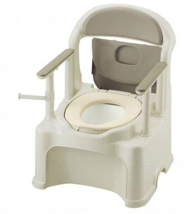 リッチェル ポータブルトイレきらくPS2型 1台 グレー やわらか便座タイプ【樹脂製トイレ】【介護トイレ】