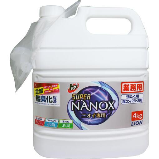 【代引き不可】【業務用・ケース販売】トップスーパーNANOX ニオイ専用(超濃縮 衣料用洗剤) 4kg×3本 アクアソープの香り すすぎ1回