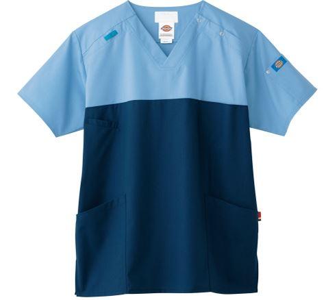【ディッキーズ】スクラブ上衣・半袖 カラー:ブルーストレーキ×シールズ 1枚 フォーク