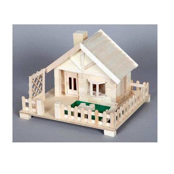 公式通販 木のレンガを積んで自分だけの家を作ってみよう 木工工作キット 加賀谷木材 芝生のある家 貯金箱 本物