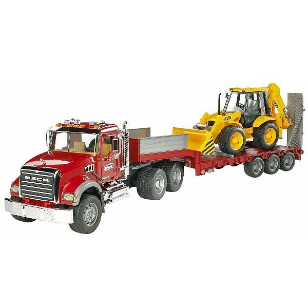 車のおもちゃ BRUDER ブルーダー MACK トラック&JCB 4CX バックホーローダー 02813