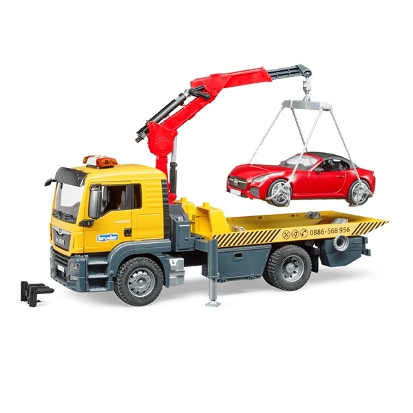 車のおもちゃ はたらく車 レッカー ミニカー bruder ブルーダー MAN レッカー&BRUDER ロードスター(RED) 03750