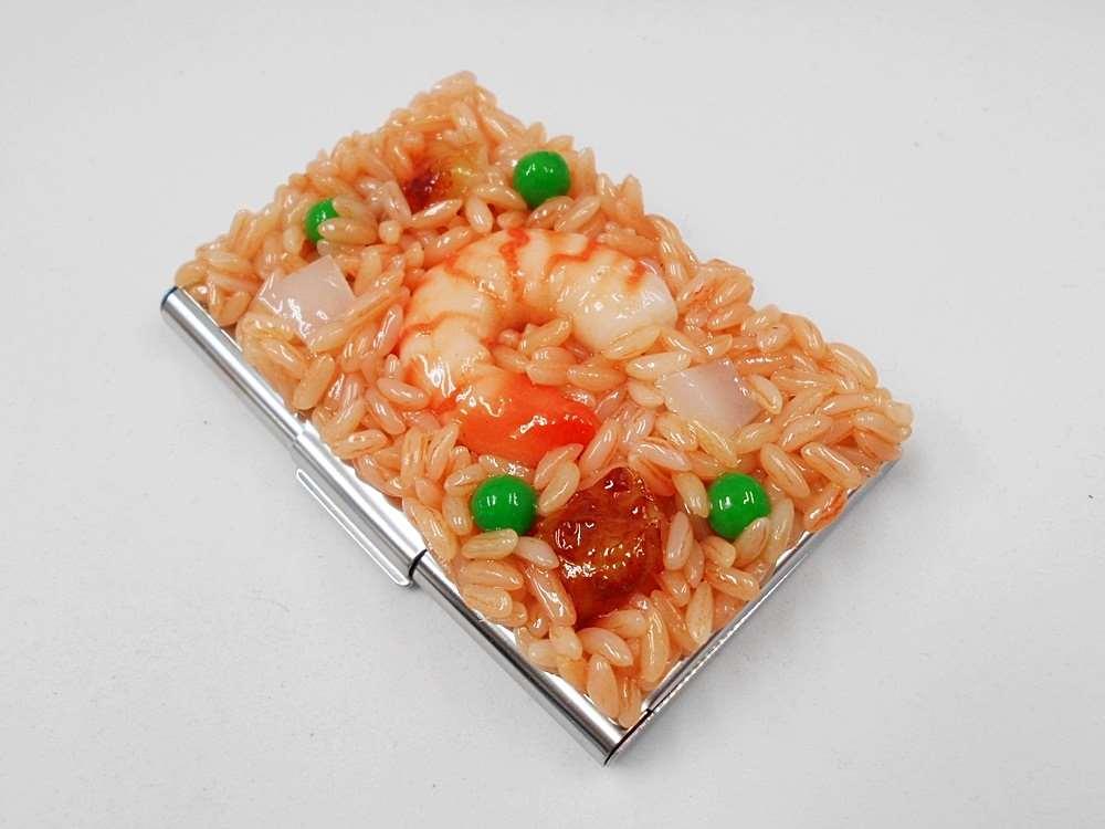 食品サンプル ストア 名刺ケース 割引 チキンライス 海老入り