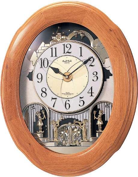 オルゴールからくり時計 (電波掛時計)  リズム時計(日本製) 4MN422-RB06 [送料無料]