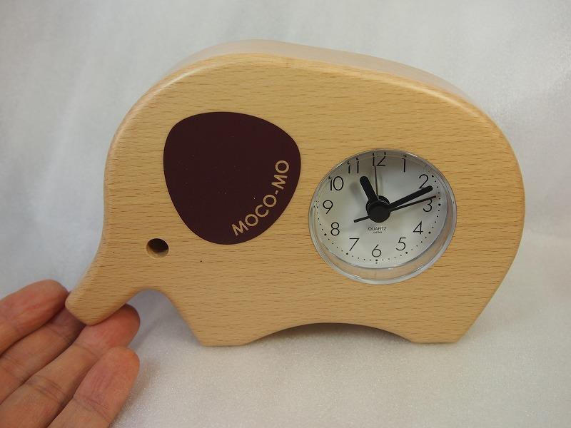 無垢の国産木材使用 ゾウさん 目覚まし時計 モコモ目覚まし時計 MM033-CN クオーツ 入手困難 AL完売しました 日本製