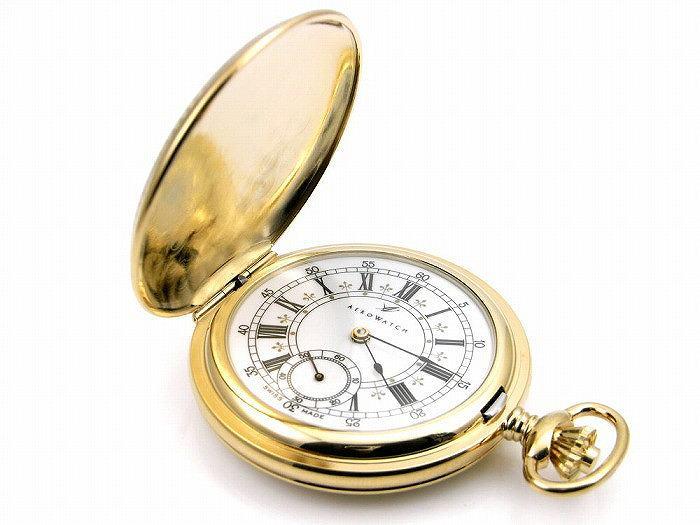アエロ懐中時計(手巻き)  金時計 (18金メッキ) スイス製 55629-J501 []