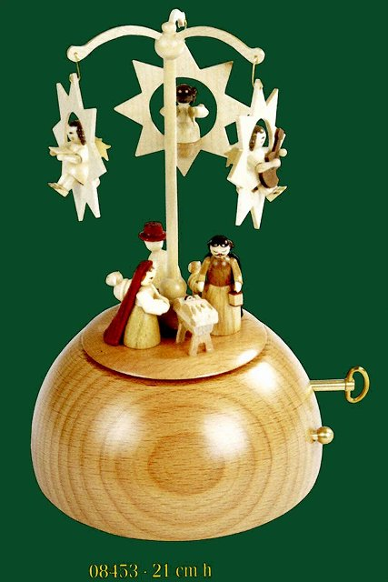 ドイツ エルツ山地の手作り 木のオルゴール 星とご生誕 ドイツ製 08453 [送料無料]