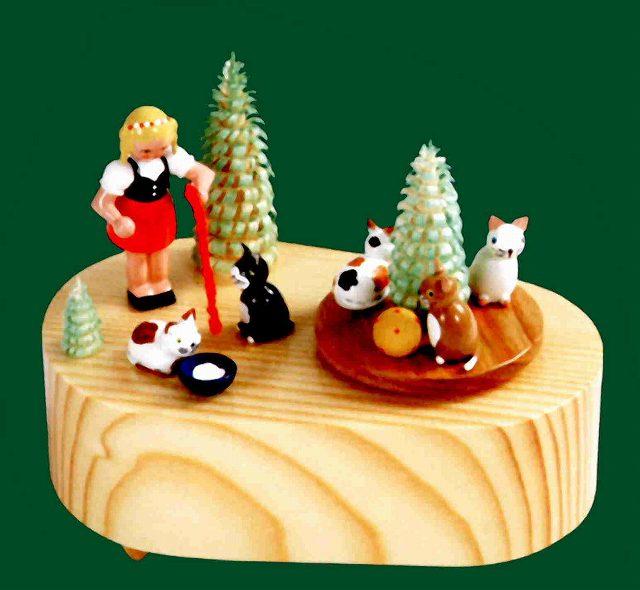 ドイツ エルツ山地の手作り 木のオルゴール 少女と子猫 ドイツ製 7862 [送料無料]