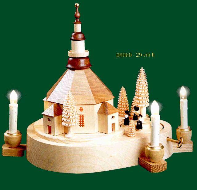 ドイツ エルツ山地の手作り 木のオルゴール 村の教会(ライト付き) ドイツ製 08060 [送料無料]