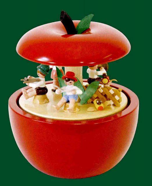 ドイツ エルツ山地の手作り 木のオルゴール リンゴの子供達 ドイツ製 08535 [送料無料]