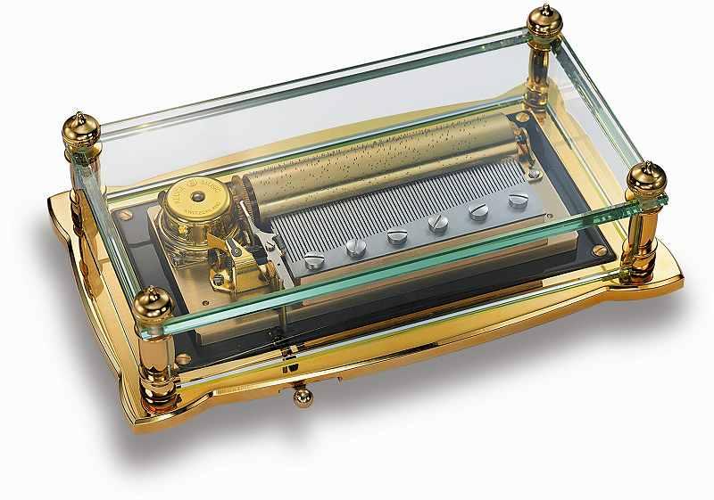 リュージュ REUGE R5800-000 72弁3曲オルゴール クリスタルBOX(ゴールド)