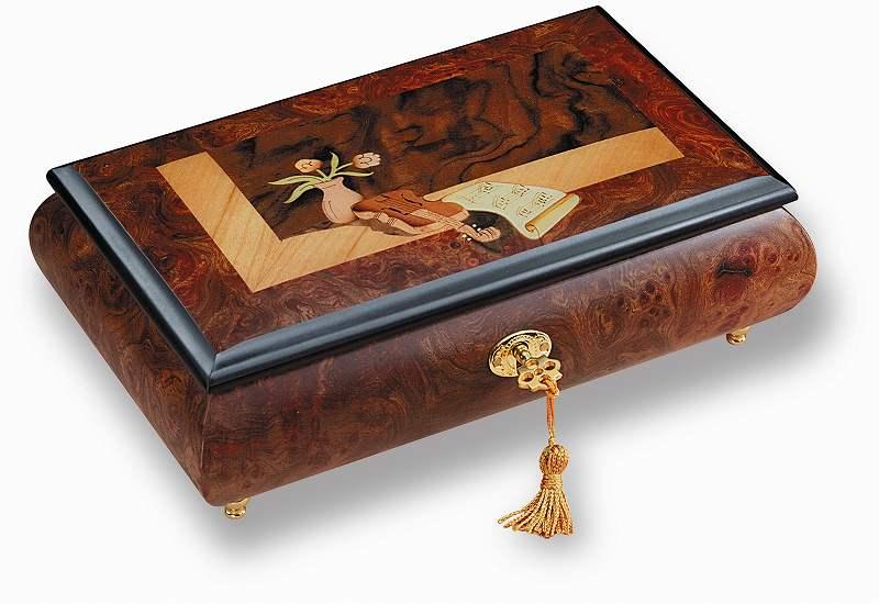 バイオリンとバラの柄の象嵌細工の鍵付きジュエリーボックス。 リュージュ R5134-000 36弁オルゴール宝石箱 ニレとクルミのこぶ材[送料無料]