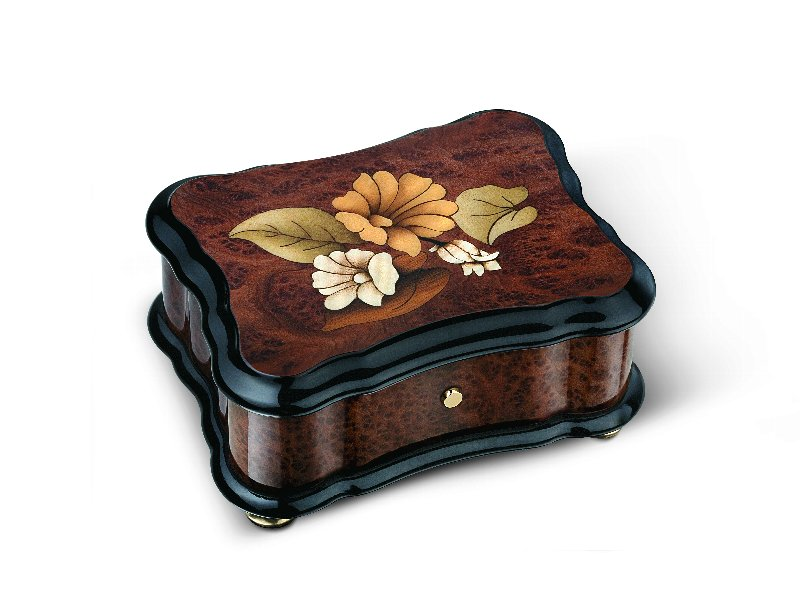リュージュ 36弁オルゴール バボナのコブ材 花模様象嵌