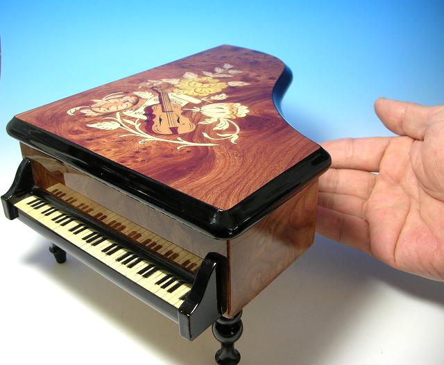オルフェウス30弁 ピアノ型 楽器象嵌宝石箱 サンキョーオルゴール製(日本)EX-196