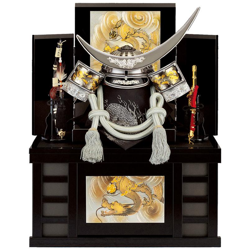 五月人形 着用収納兜台飾り 銀龍政宗 25号 (上フタ式)収納 端午の節句 皇宸作 B-018