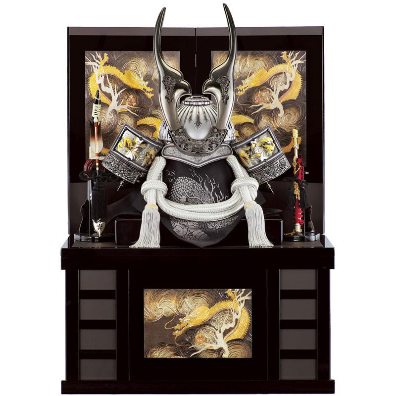 五月人形 着用収納兜台飾り 鉄銀伝説 25号 (上フタ式)収納 端午の節句 皇宸作 B-021